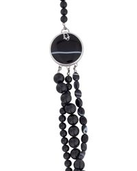 Dior - Metallic Jasper And Sardonyx Multistrand Bead Necklace Silver - Lyst