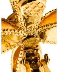 Chanel - Metallic Cc Ribbon Cross Clip-on Earrings Gold - Lyst