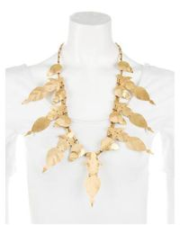 Tory Burch - Metallic Hammered Willow Leaf Necklace Brass - Lyst