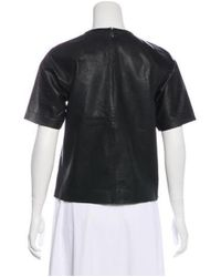 Tibi - Black Leather Short Sleeve Top - Lyst