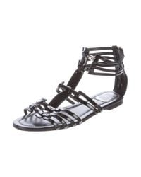 Dior - Black Patent Leather Multistrap Sandals - Lyst