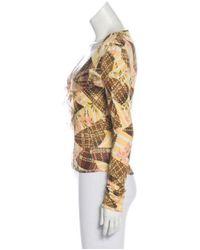 John Galliano - Yellow Printed Long Sleeve Top Brown - Lyst