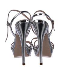 Miu Miu - Metallic Miu Crossover Sandals Silver - Lyst