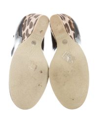 Giuseppe Zanotti - Black Round-toe Leopard Wedges - Lyst