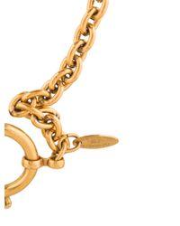 Chanel - Metallic Signature Cutout Circle Pendant Necklace Gold - Lyst