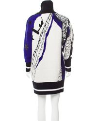 Emilio Pucci - Metallic Leather-trimmed Sweater Dress W/ Tags Black - Lyst