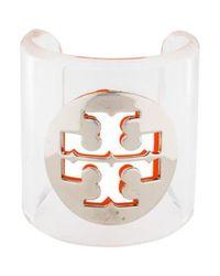 Tory Burch - Metallic Resin Logo Cuff Silver - Lyst