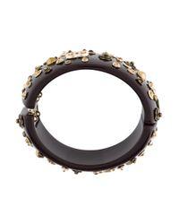Chanel - Metallic Cc & Crystal Camellia Resin Bangle Gold - Lyst