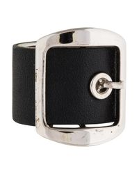 Givenchy - Metallic Leather Buckle Ring Silver - Lyst