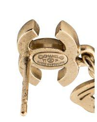 Chanel - Metallic Cc Crystal Butterfly Drop Earrings Gold - Lyst