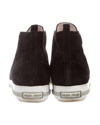 Miu Miu - Metallic Miu Suede Cap-toe Sneakers Black - Lyst