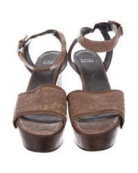 Stuart Weitzman - Brown Embossed Wedge Sandals - Lyst