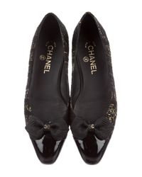 Chanel - Black Tweed Cap-toe Flats - Lyst