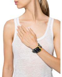 Miu Miu - Metallic Miu Studded Leather Buckle Bracelet Gold - Lyst