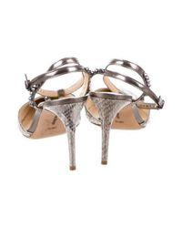 Alexandre Birman - Metallic Embossed Spike-accented Pumps Silver - Lyst
