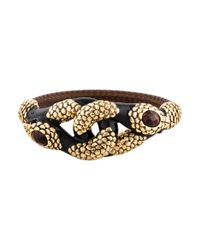 Roberto Cavalli - Metallic Tiger's Eye Dual Serpent Embellished Bangle Gold - Lyst
