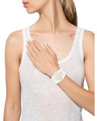 Chanel - Metallic Geometric Crystal Cuff Gold - Lyst