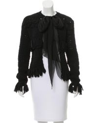 Chanel - Black Silk Tie-accented Jacket - Lyst