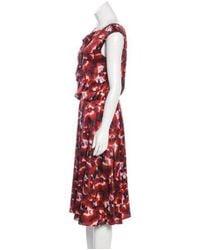 Carolina Herrera - Red Printed Silk Dress - Lyst