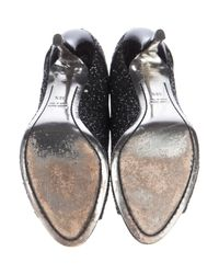 Miu Miu - Black Miu Glitter-embellished Peep-toe Pumps - Lyst
