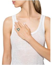 Dior - Metallic Enamel 'd' Ring Silver - Lyst