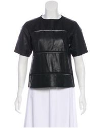 Tibi - Black Leather Short Sleeve Top - Lyst