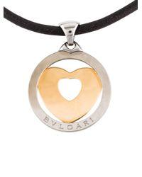 BVLGARI | Metallic Two-tone Tondo Heart Pendant Necklace Yellow | Lyst