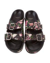 Givenchy - Black Floral Slide Sandals - Lyst