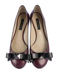 Marc Jacobs - Red Leather Round-toe Flats Burgundy - Lyst