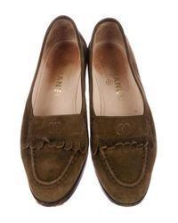 Chanel - Green Suede Cc Kiltie Flats Olive - Lyst