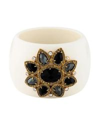 Roberto Cavalli - Metallic Crystal Embellished Resin Bangle Gold - Lyst