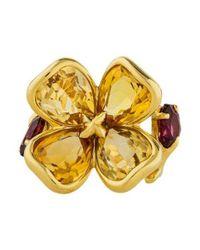 Chanel - Metallic Camellia Citrine & Garnet Flower Ring Yellow - Lyst