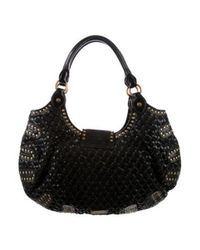 Boutique Moschino - Metallic Woven Leather Stud-embellished Bag Black - Lyst