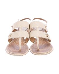 Chanel - Natural Cc Turnlock Sandals Neutrals - Lyst