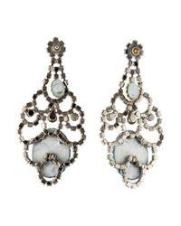 Tom Binns - Metallic Faux Pearl, Crystal & Resin Cameo Earrings Silver - Lyst