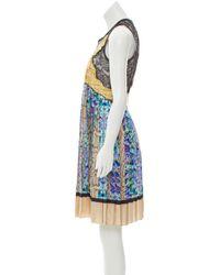 Roberto Cavalli - Blue Printed Silk Dress Pattern Prints - Lyst