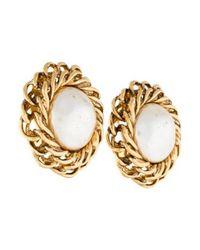 Chanel - Metallic Pearl Clip-on Earrings Gold - Lyst