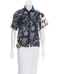 Dries Van Noten - Blue Abstract Button-up Top Multicolor - Lyst