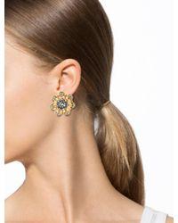 Chanel - Metallic Crystal Clip-on Earrings Gold - Lyst