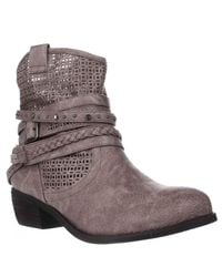 Not Rated | Gray Vanoora Braided Strap Cutout Western Ankle Boots | Lyst