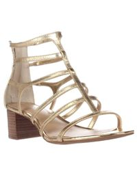 Lauren by Ralph Lauren | Metallic Lauren Ralph Lauren Madge Strappy Sandals | Lyst