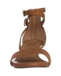 Franco Sarto - Brown Danissa Double Ankle Strap Wedge Sandals - Lyst