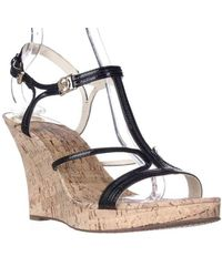 4e5d3e9d92 Lyst - Michael Kors Michael Cicely Wedge Strappy Cork Sandals, Black ...