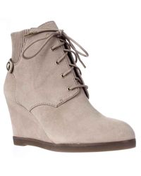Michael Kors | Natural Michael Carrigan Wedge Knit Cuff Lace Up Ankle Boots | Lyst