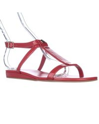 Cole Haan | Red Paz T-strap Flat Sandals | Lyst
