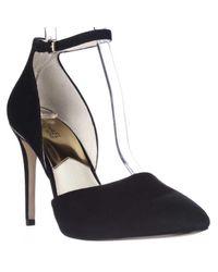 Michael Kors   Michael Gerogia Ankle Strap Pumps - Black Suede   Lyst
