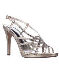 Caparros | Natural Vega Rhinestone Studded Slingback Dress Sandals | Lyst