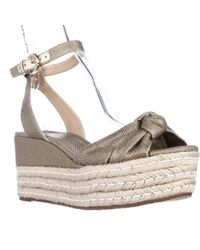 Michael Kors | Gray Michael Maxwell Mid Wedge Platform Ankle Strap Sandals | Lyst