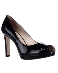 Via Spiga | Black Brandy Peep Toe Dress Pumps | Lyst