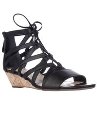 Franco Sarto | Black Brixie Lace-up Wedge Sandals | Lyst